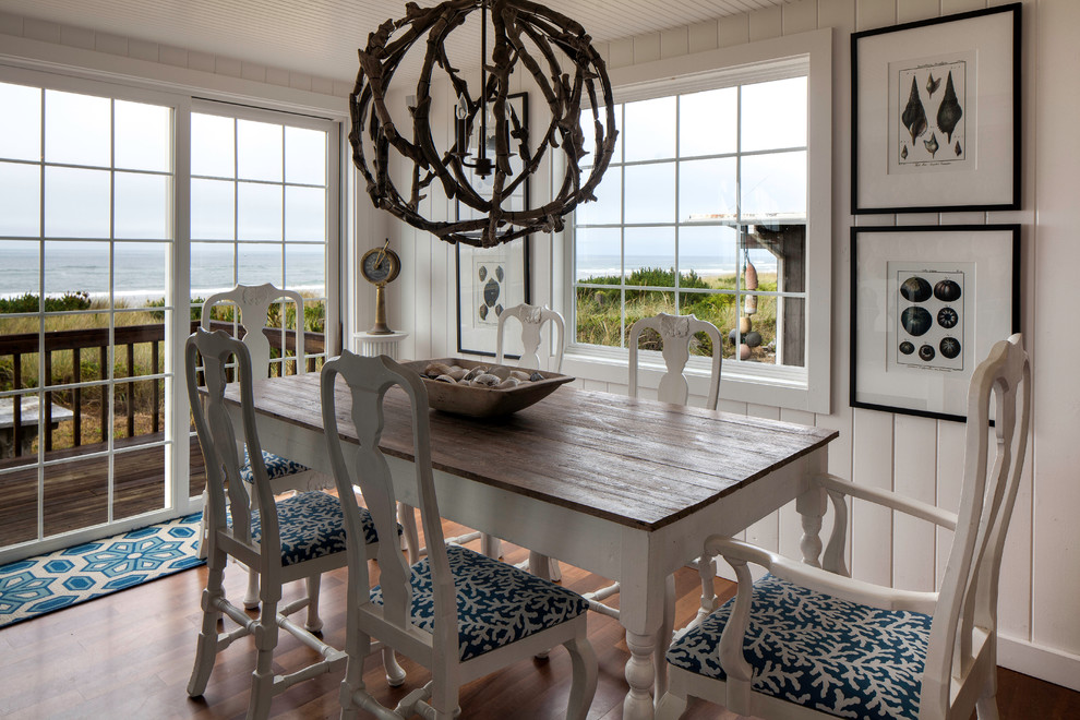 Globe Chandelier Dining Room Beach with Beach House Blue and White Cabin Style Cannon Beach Designer Cherry Wood