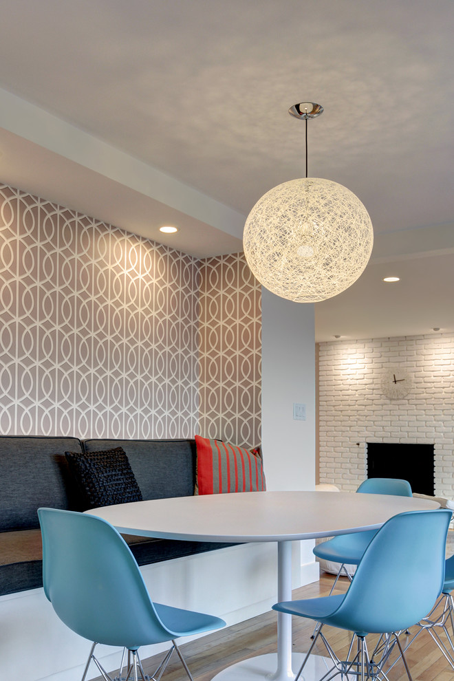 Globe Chandelier Dining Room Transitional with Blue Dining Chairs Built in Banquette Gray Cushions Pendant Light Recessed Lighting