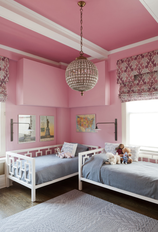 Globe Chandelier Kids Transitional with Baseboards Bedroom Crown Molding Day Bed Daybed Exposed Beams Girl Girls Room