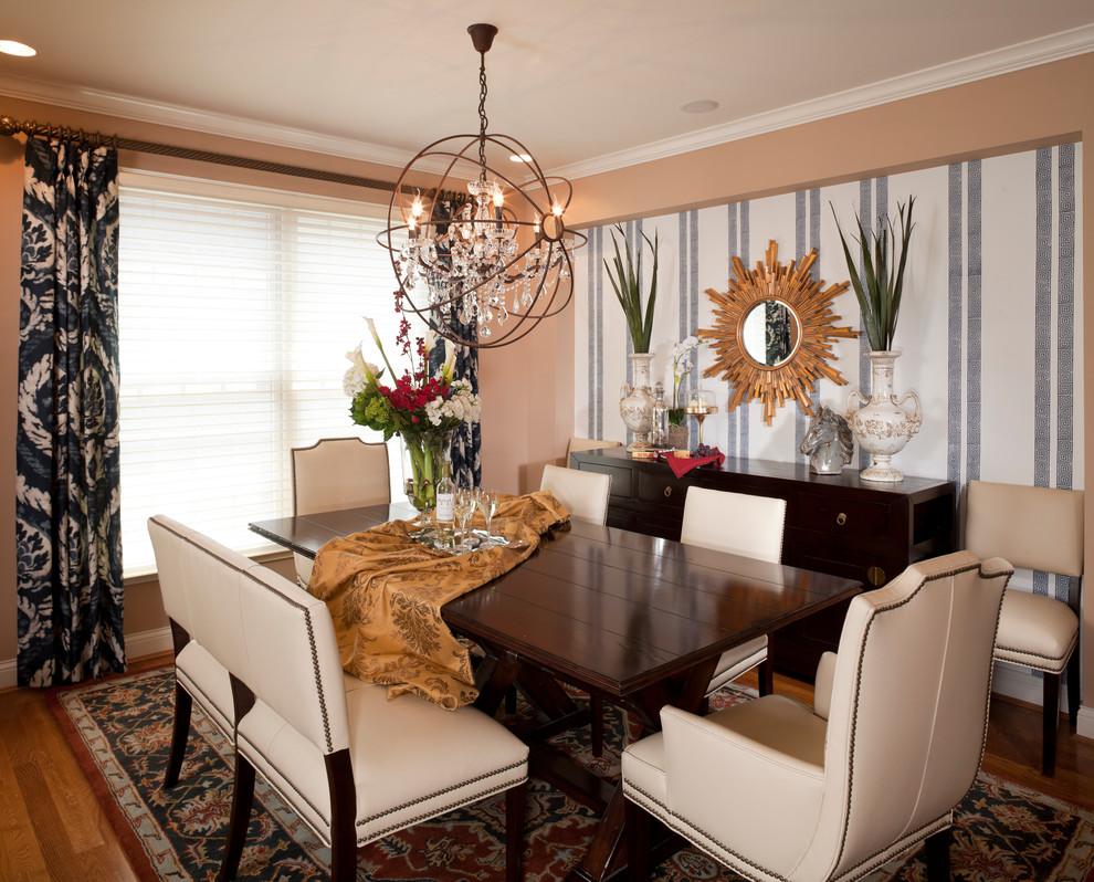 Gold Sunburst Mirror Dining Room Contemporary with Accent Wall Crown Molding Curtain Rod Dark Brown Buffet Dark Brown Dining