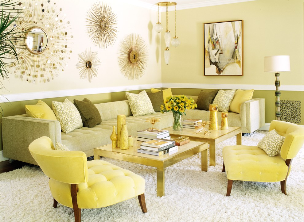 Gold Sunburst Mirror Living Room Contemporary with Analogous Color Scheme Gold Accents Gold Coffee Table Gold Pendant Light Gold