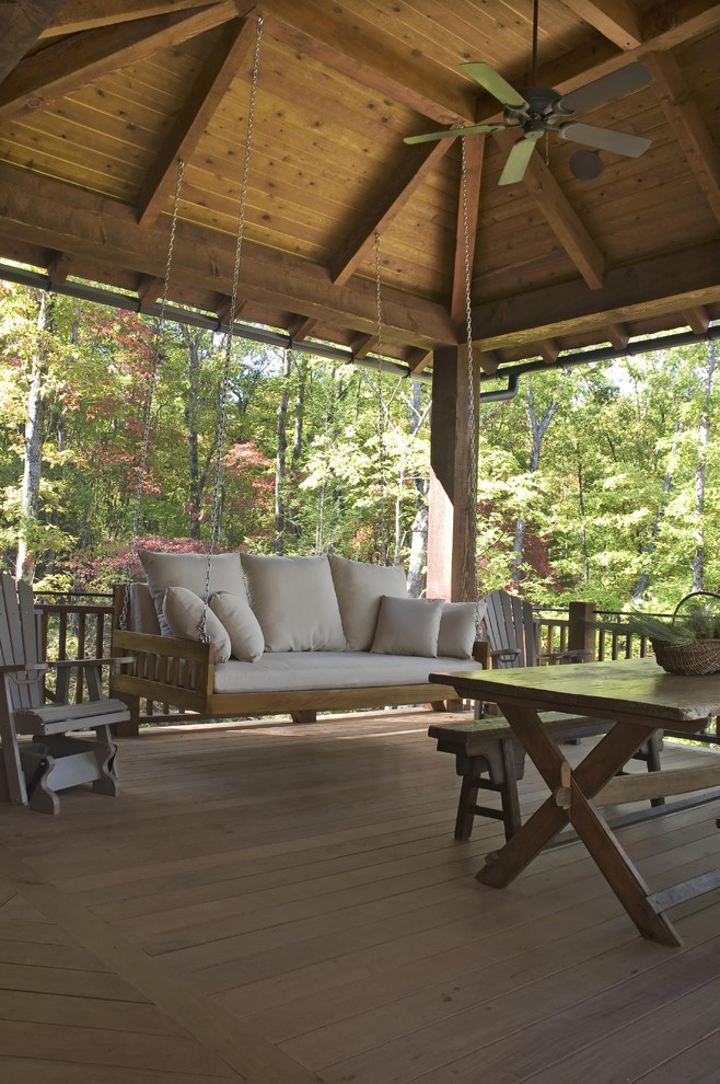 Gorilla Swing Sets Porch Rustic with Adirondack Chairs Bed Swing Bedswing Cedar Shake Roof Covered Deck Covered Porch