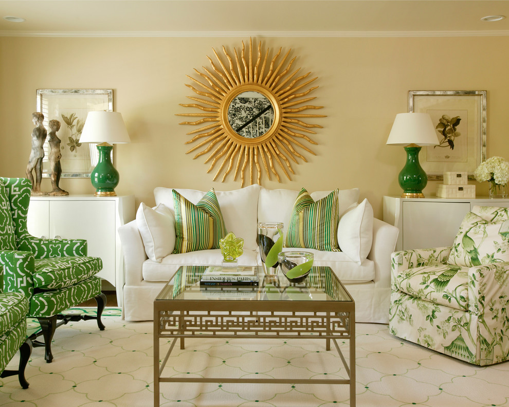 gourd lamps Living Room Traditional with beige wall floral art glass coffee table gold coffee table gold sunburst