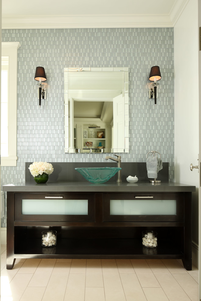 Graff Faucets Bathroom Contemporary with Bathroom Cabinetry Glass Sink Shower Simple Wall Tile