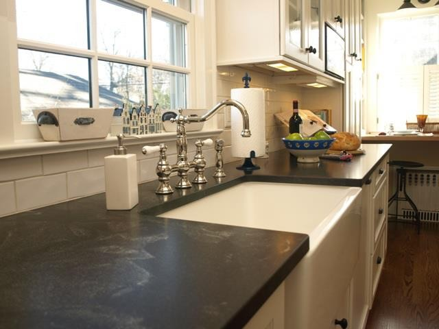 Graff Faucets Kitchen Traditional with Farm Sink Granite Jet Mist Honed Rohl Faucet White Subway Tile