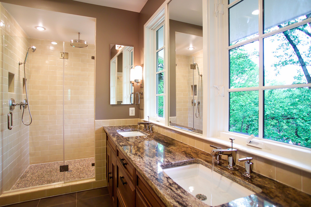 Granite Vanity Tops Bathroom Traditional with Bathroom Mirror Custom Shower Door Dark Floor Double Sinks Double Vanity Frameless