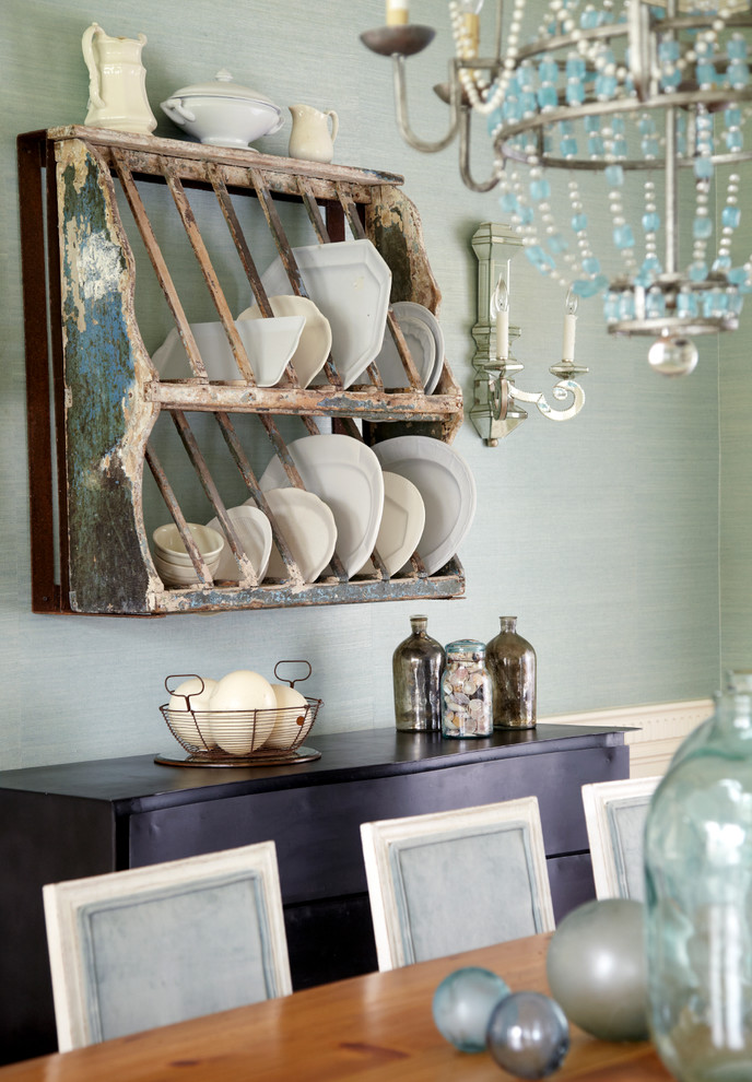 Gratin Dish Dining Room Shabby Chic with Blue Dining Chair Blue Glass Chandelier Blue Wallcovering Blue Walls Candlesticks Dining