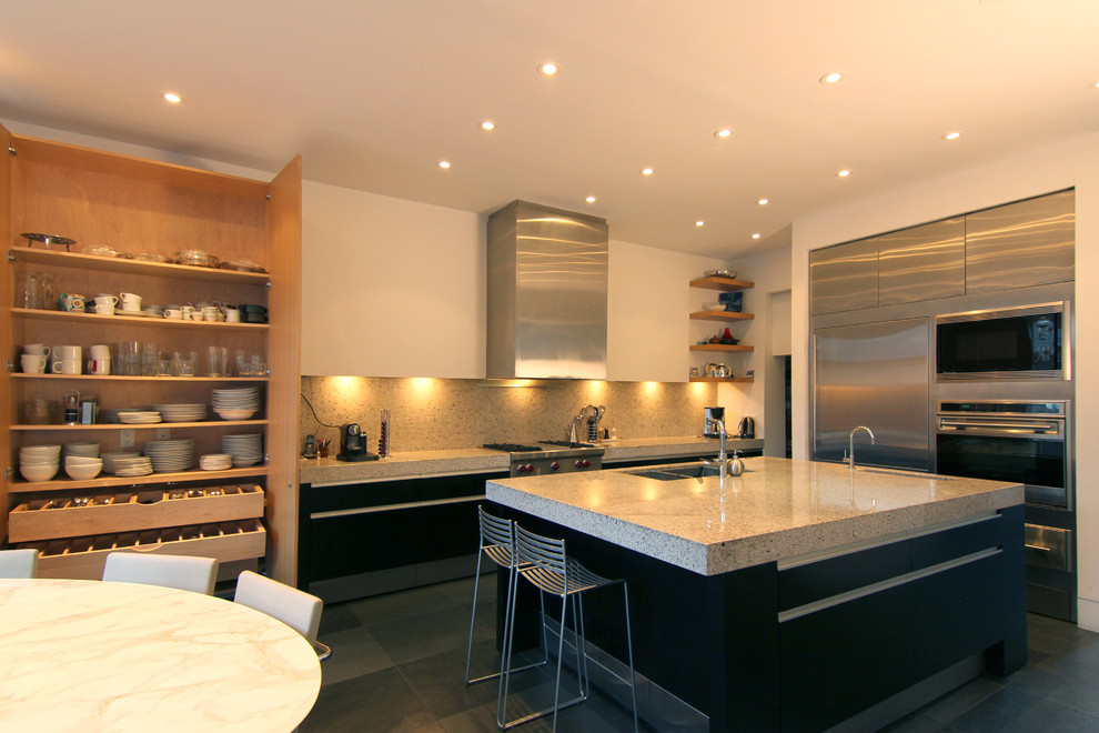 Gratin Dish Kitchen Modern with Gray Tile Floor Kitchen Island Metal Counter Stools Pantry Under Cabinet Lighting