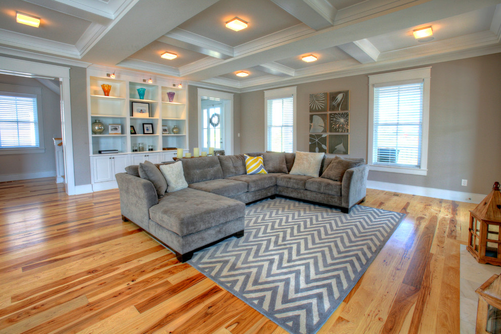 Gray Chevron Rug Living Room Contemporary with Art Collage Artwork Collage Beige Ceiling Beams Beige Coffered Ceiling Beige Molding