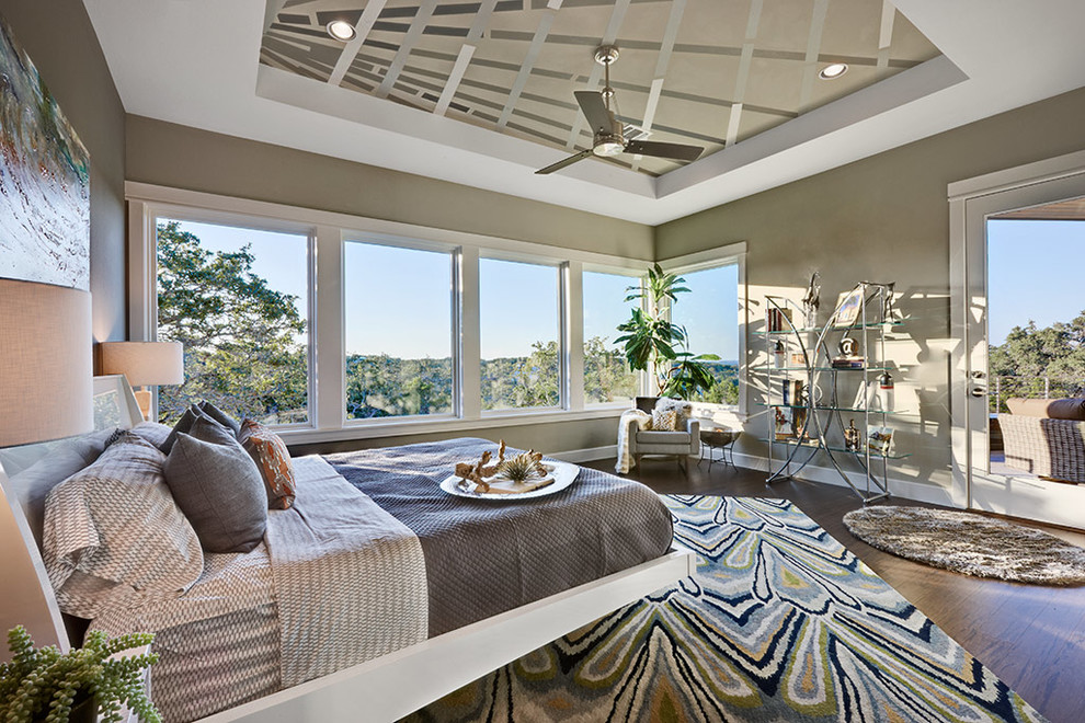 Gray Comforter Sets Bedroom Contemporary with Area Rug Artwork Balcony Ceiling Fan Chrome Corner Window Deck Glass Shelves