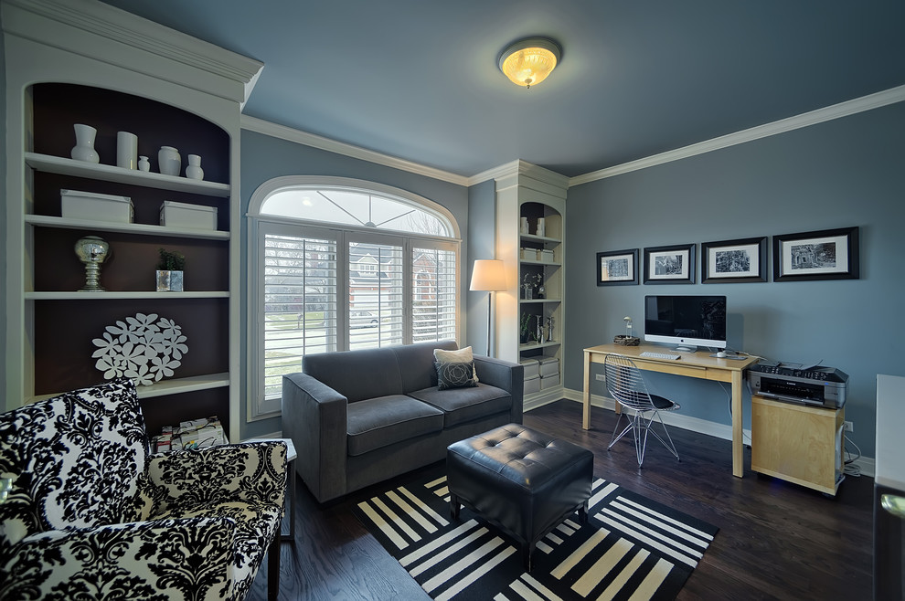 Gray Loveseat Home Office Contemporary with Arched Window Black and White Armchair Black and White Rug Built in Bookcase