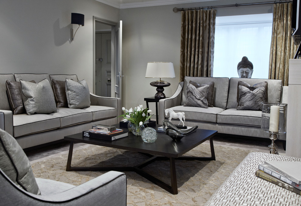 gray loveseat Living Room Contemporary with armchair black black coffee table Buddah calm glass ornament grey grey sofa