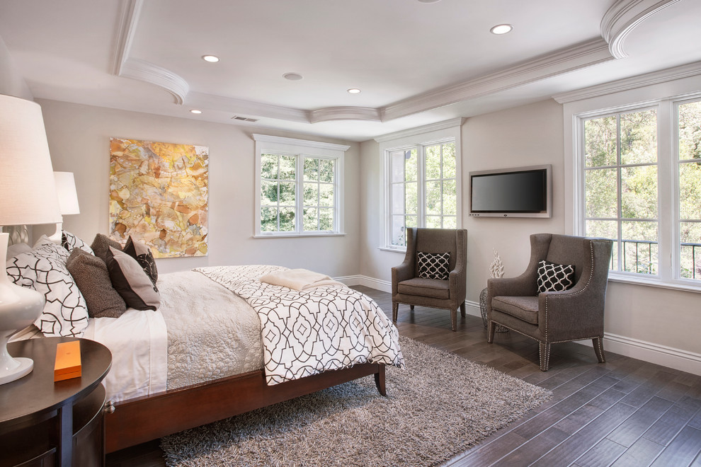 Gray Shag Rug Bedroom Traditional with Beige Bedding Beige Patterned Throw Beige Wall Black Patterned Throw Pillow Brown