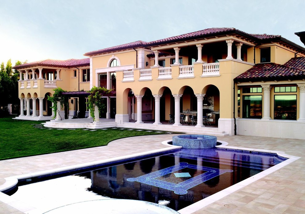Gray Shag Rug Pool Transitional with Architectural Facade Balcony Balustrade Beautiful Pools Capitols Cast Stone Colonnade Corbels Corinthian