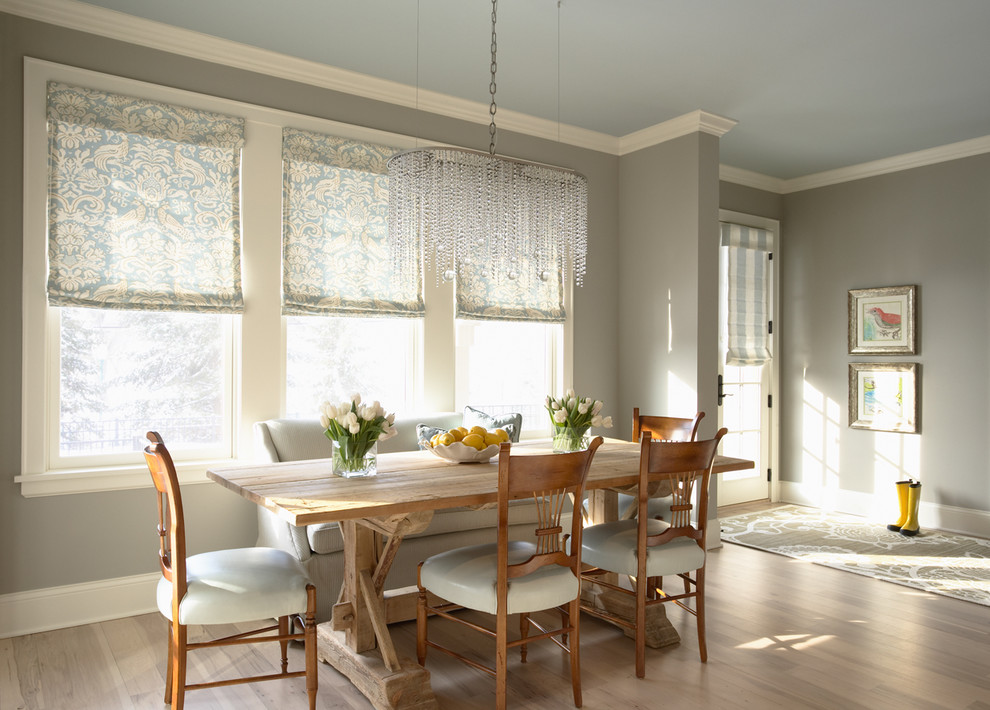 great northern popcorn Dining Room Traditional with area rug Art beautiful bench Benjamin Moore blue boots breakfast table ceiling