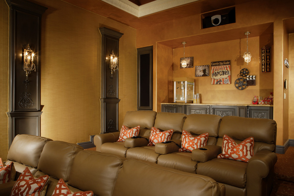 great northern popcorn Home Theater Traditional with above cabinet lighting arm rest beautiful cabinets carpet pattern Chic classic design