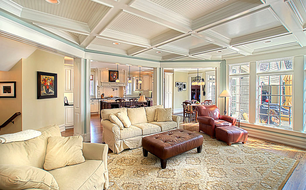 Great Northern Popcorn Living Room Traditional with Area Rug Baseboards Beadboard Ceiling Lighting Ceiling Treatment Coffered Ceiling Crown Molding