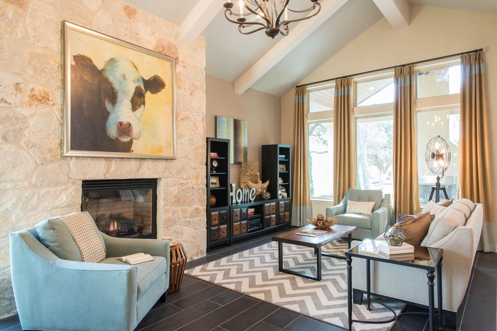 Grey Chevron Rug Family Room Transitional with Coffee Table Cow Painting Dark Bookcase Exposed White Beams Gray Chevron Area