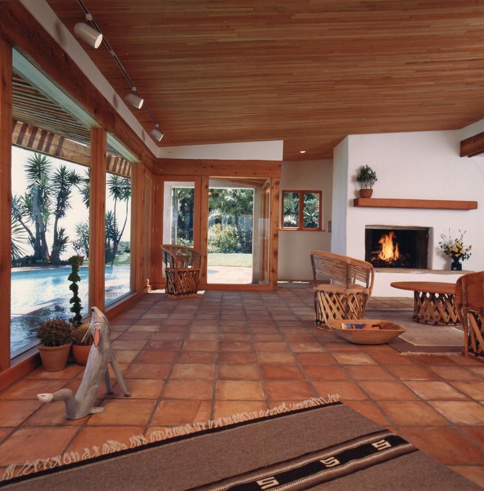 Grey Chevron Rug Living Room Eclectic with City View Coyote Coyote Statue Fireplace Laurel Canyon Saltillo Tile Santa Fe