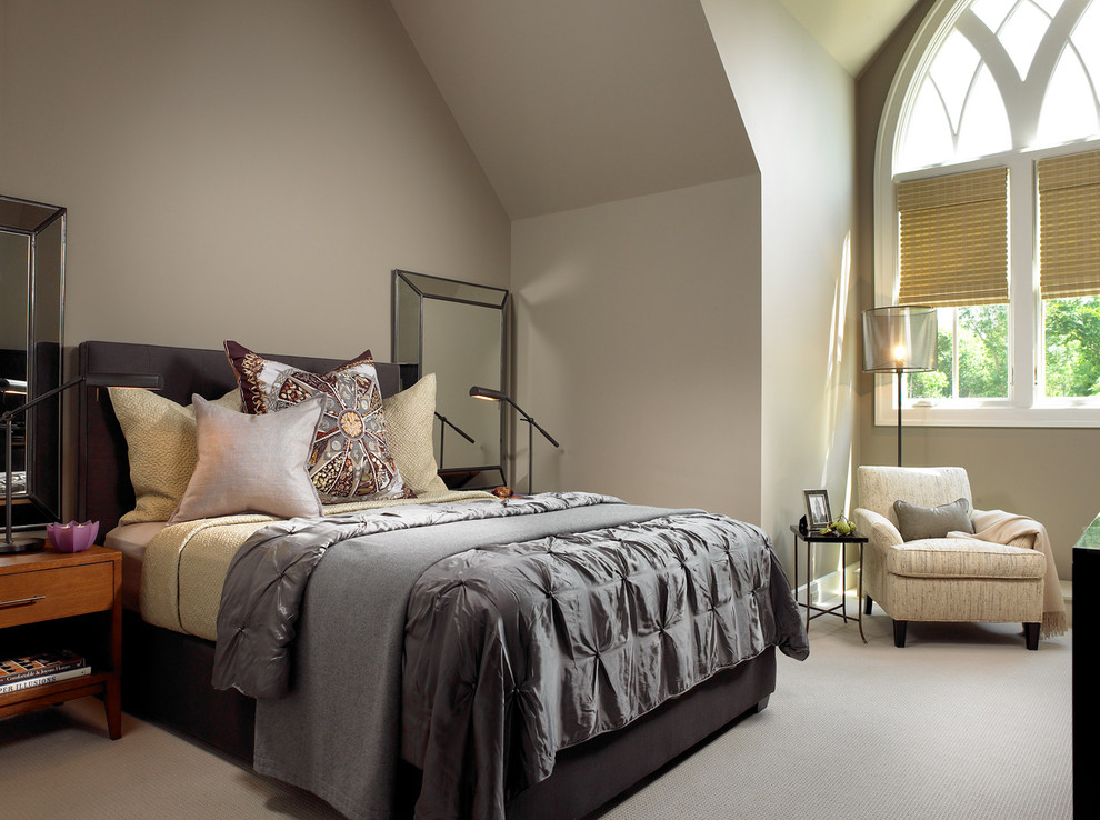 Grey Comforter Bedroom Contemporary with Arch Arched Windows Bed Bed Pillows Bedding Bedroom Bedside Table Beveled Mirror