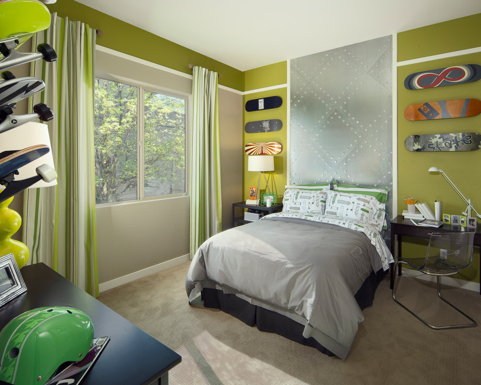 Grey Comforter Kids Transitional with Accent Wall Boys Bedroom Boys Room Cantilever Chair Desk Gray Bedding Gray