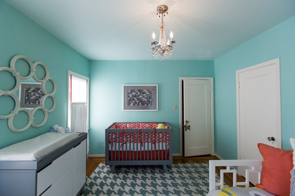 Grey Cribs Nursery Modern with Baby Room Blue Painted Walls Chandelier Changing Pad Changing Table Crib Houndstooth