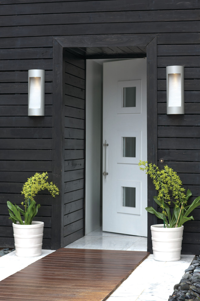 Grey Glider Exterior Contemporary with Hinkley Luna Wall Sconce