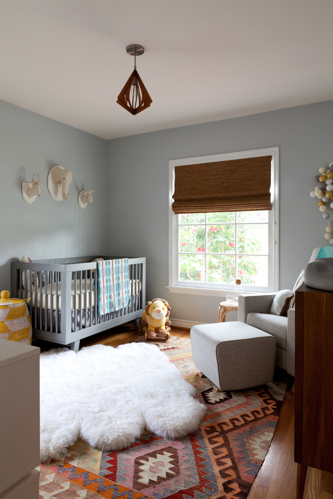 Grey Glider Nursery Contemporary with Animal Brown Roman Shade Faux Fur Rug Gray Gray Crib Gray Glider