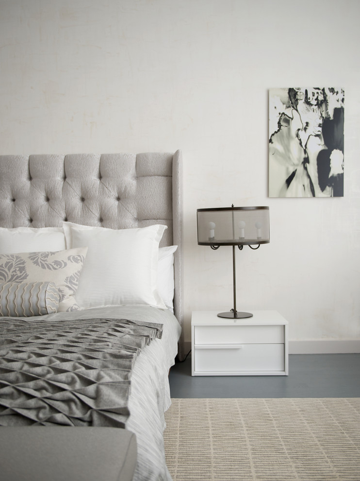 Grey Headboard Bedroom Contemporary with Black and White Art Contemporary Furniture Gray and White Gray Floors Gray