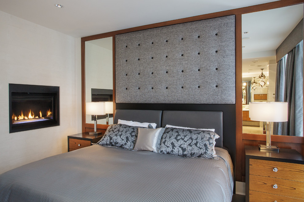 Grey Headboard Bedroom Contemporary with Custom Millwork Fireplace Gas Fireplace Gray Flannel Mirrored Headboard Mirrored Wall Nightstands