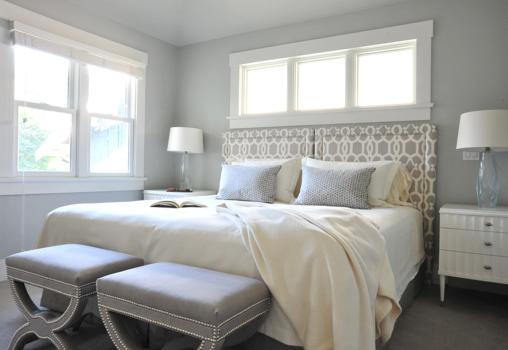 Grey Headboard Bedroom Traditional with Bedside Table Clerestory Double Hung Windows Empire Bench Foot of the Bed