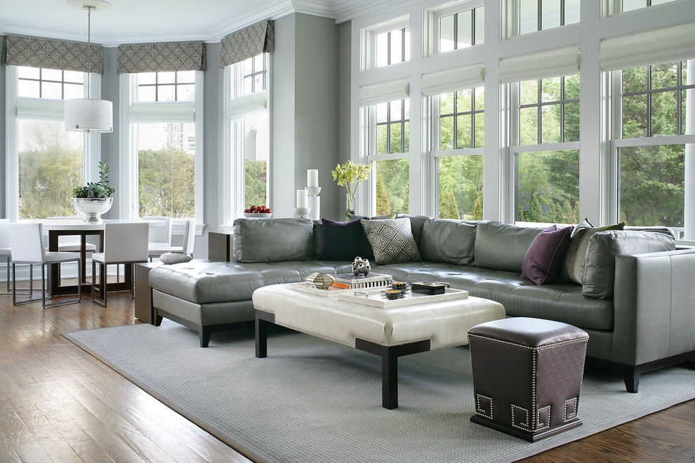 Grey Leather Sectional Family Room Transitional with Bookcase Contemporary Fabric Cornice Gray Leather Sectional Gray Walls Nailhead Detail Nailhead