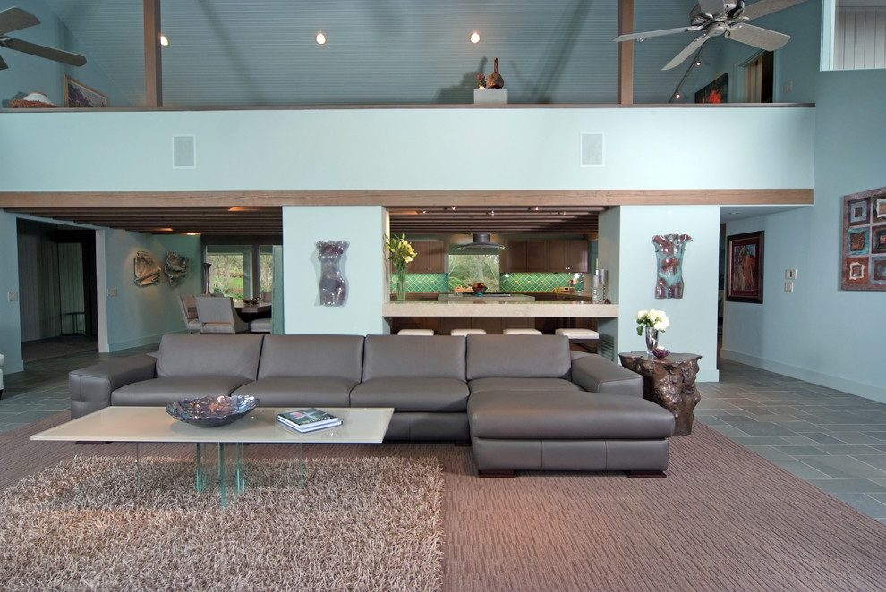 Grey Leather Sectional Living Room Contemporary with Art Ceiling Fan Chair Cocktail Table Coffee Table Credenza End Table Gray