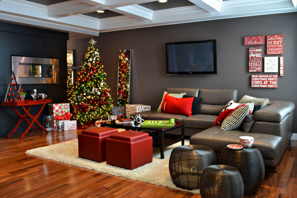 grey leather sectional Living Room Contemporary with black and white throw pillow black coffee table black side table Christmas