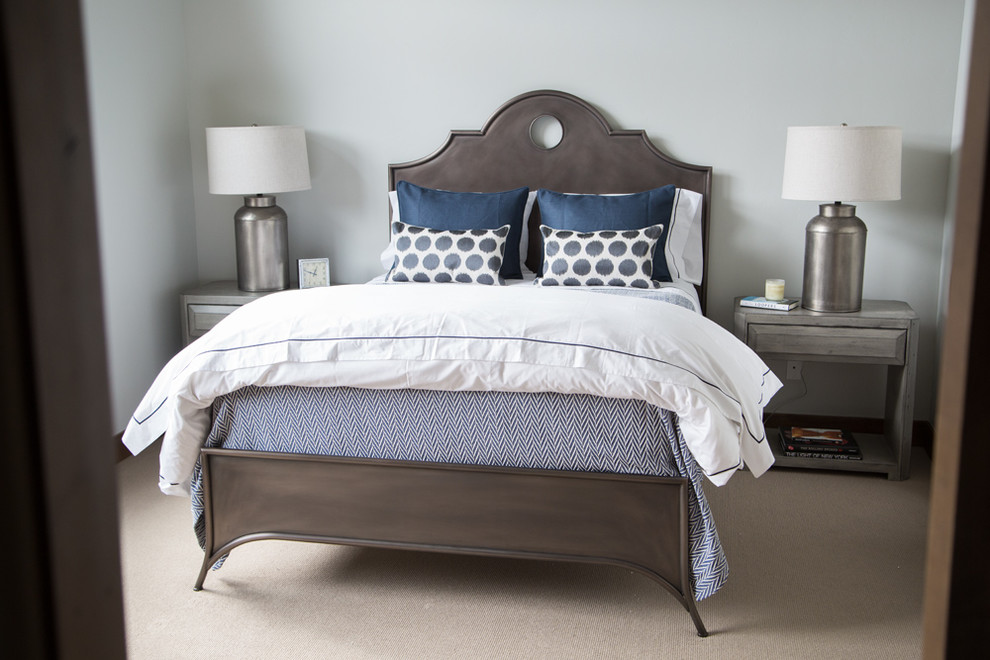 Grey Nightstand Bedroom Transitional with Bachelor Pad Bedding Beige Carpet Benjamin Moore Blue and White Bedding Contemporary