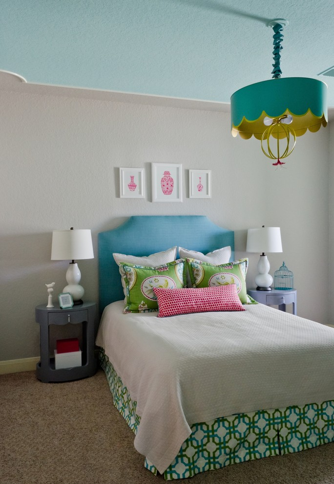 Grey Nightstand Kids Contemporary with Asian Inspired Blue Headboard Chandelier in Bedroom Chinoiserie Custom Made Grey and Turquoise