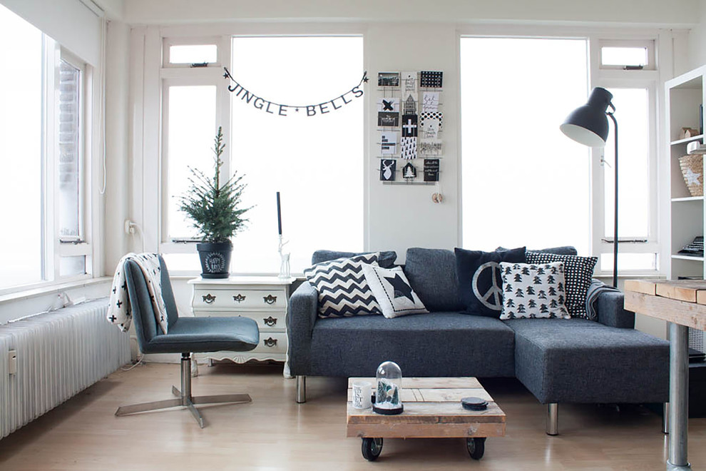 grey sectional sofas Living Room Scandinavian with black and white black and white Christmas cards black floor lamp casters