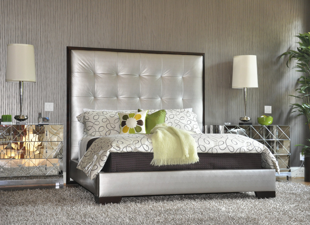 grey shag rug Bedroom Contemporary with bedside table decorative pillows metallic mirrored furniture neutral colors nightstand platform bed