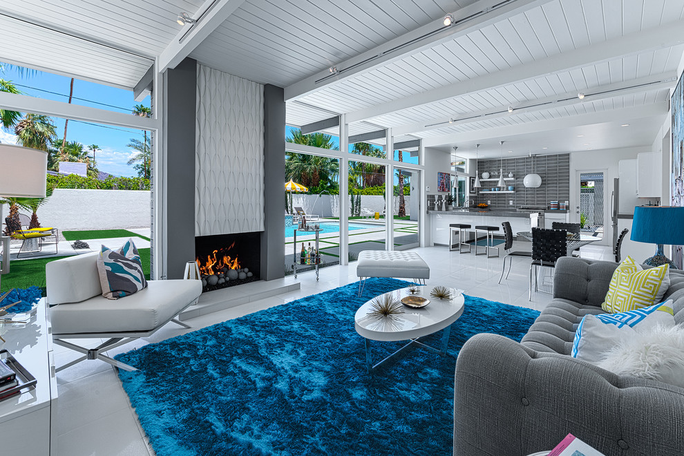 Grey Tufted Sofa Living Room Midcentury with Bright Blue Area Rug Gray Tufted Sofa Indoor Outdoor Palm Springs Tongue1