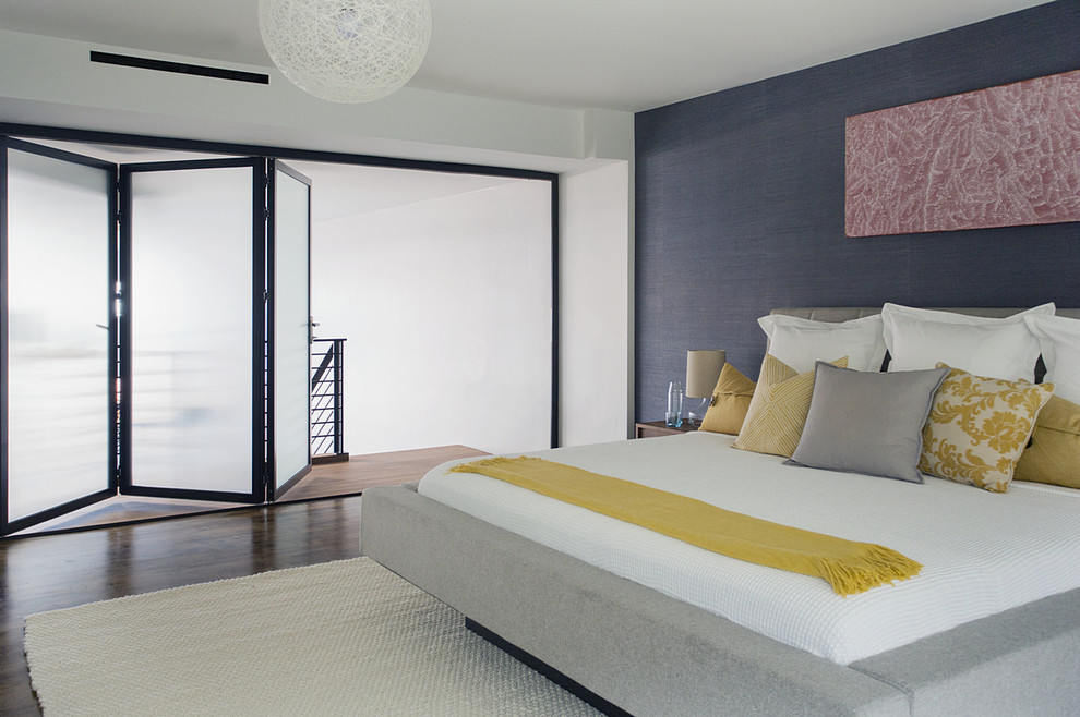 Grey Upholstered Bed Bedroom Contemporary with Beige Drum Table Lamp Black Framed Sliding Window Blue Accent Wall Frosted