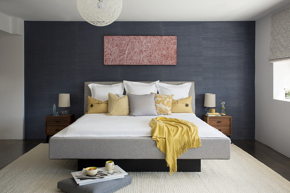 Grey Upholstered Bed Bedroom Contemporary with Black and White Print Roller Shade Dark Blue Accent Wall Gray And
