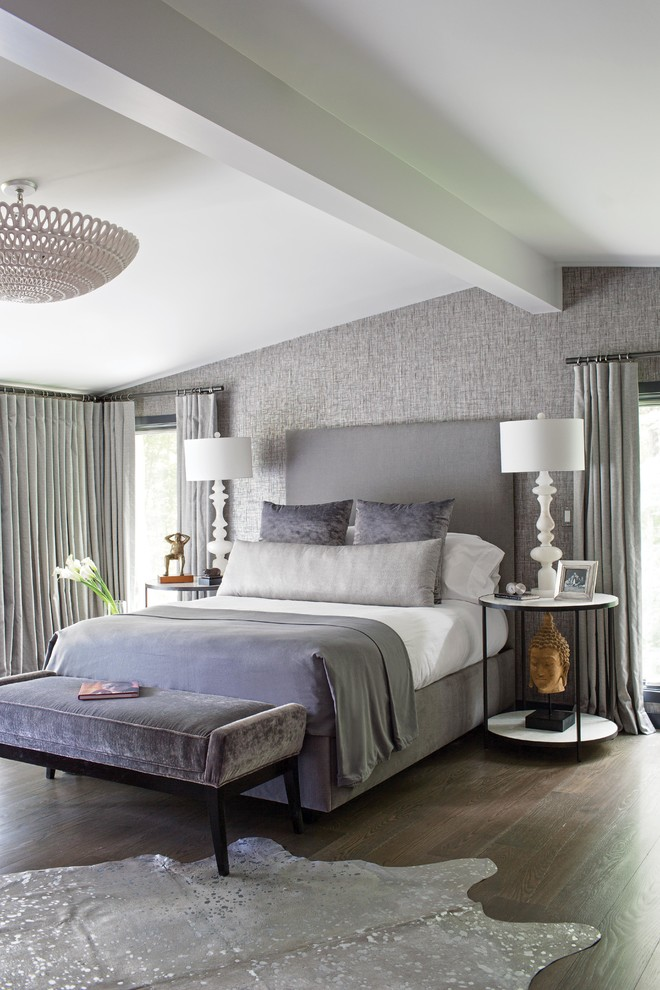 Grey Upholstered Bed Bedroom Transitional with Cool Neutral Colors End of Bed Bench Gray Curtains Gray Grass Cloth