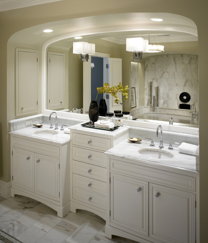 Grohe Faucets Bathroom Transitional with Architrave Double Vanity Drawers Marble Counters Marble Tile Floor Oval Sinks Raised