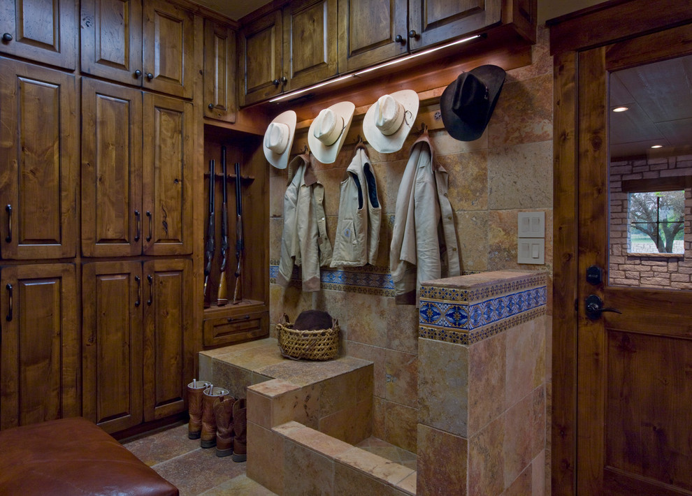 Gun Cabinets for Sale Entry Rustic with Brown Leather Coat Rack Cowboy Hats Knotty Pine Mud Room Painted Tile