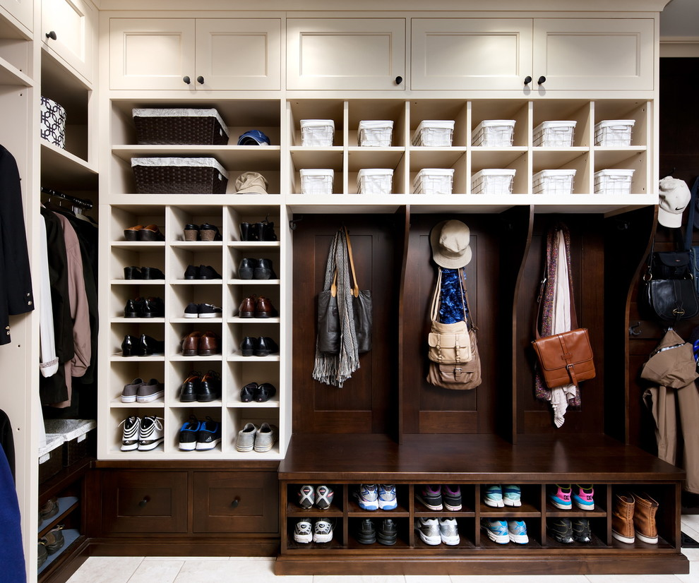 Gym Bag with Shoe Compartment Closet Traditional with Baskets Bench Seating Black Hardware Built in Cabinetry Coat Hooks Cubbies Entry Mud