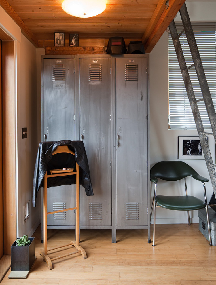 Gym Lockers Entry Eclectic with Arm Chair Blinds Ceiling Light Ladder Lockers Metal Boxes Natural Wood Storage