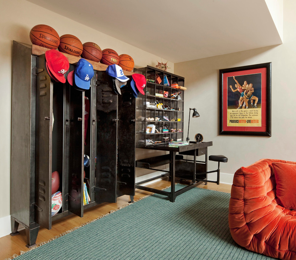 Gym Lockers Family Room Eclectic with Baseball Caps Baseball Hats Basketballs Beige Wall Desk Station Green Rug Gym