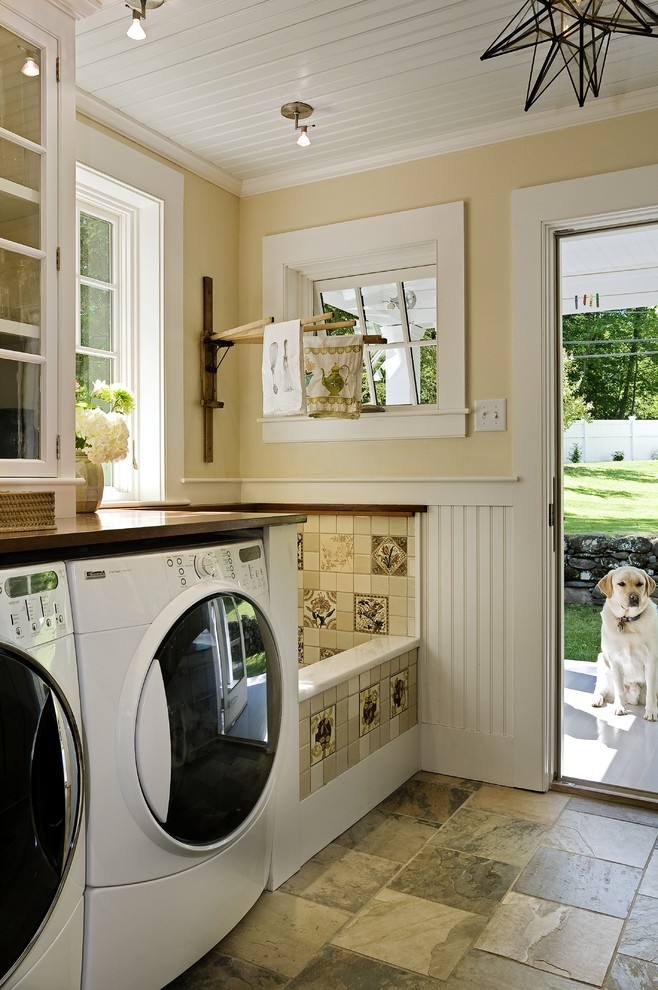 haier washing machine Laundry Room Traditional with back door bead board dog wash area drying rack glass front cabinets