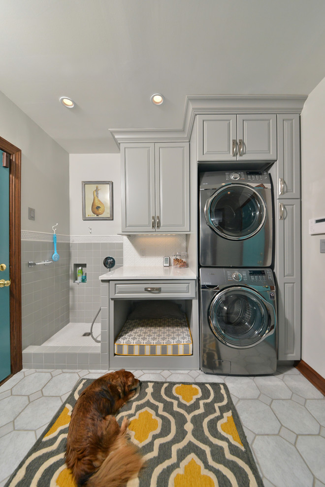 Haier Washing Machine Laundry Room Traditional with Dog Bed Dog Grooming Dog Shower Dog Wash Dogs Kids Utility Room