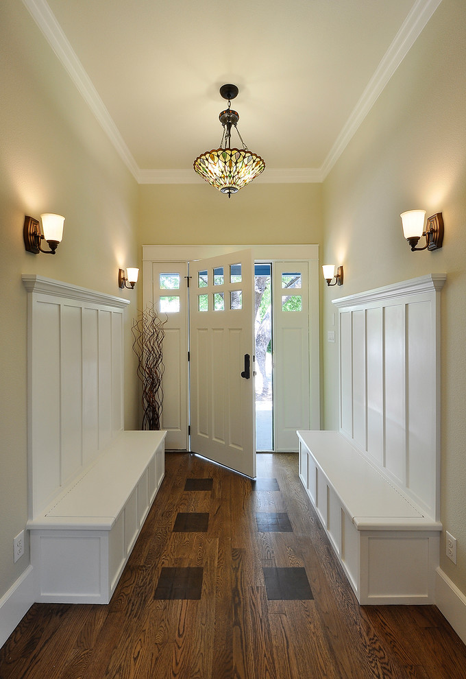 Halltree Entry Traditional with Baseboard Bench Storage Biege Walls Built in Bench Seats Crown Molding Frame And
